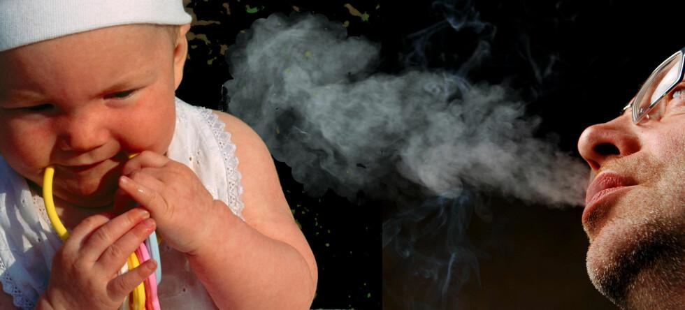 Passiv røyking påvirker små barn helse mer enn voksne, viser ny studie. Foto: Colourbox/montasje