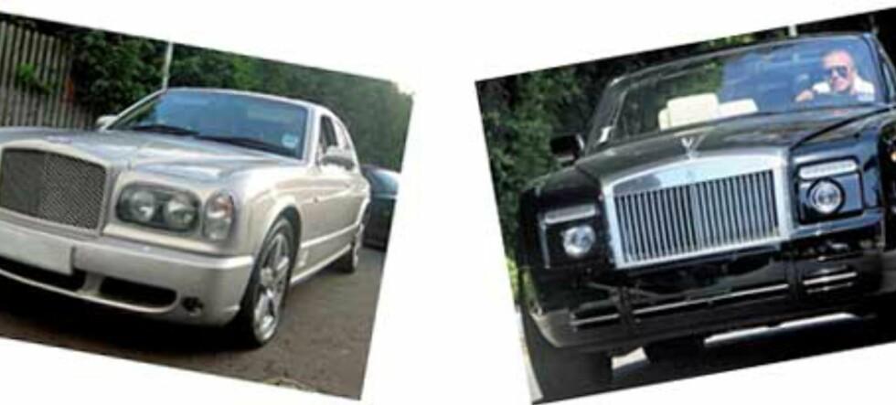 Fotballstjerner tjener alt for godt. Bentleyen til venstre, og den råtøffe Rolls-Royce Drophead til høyre
