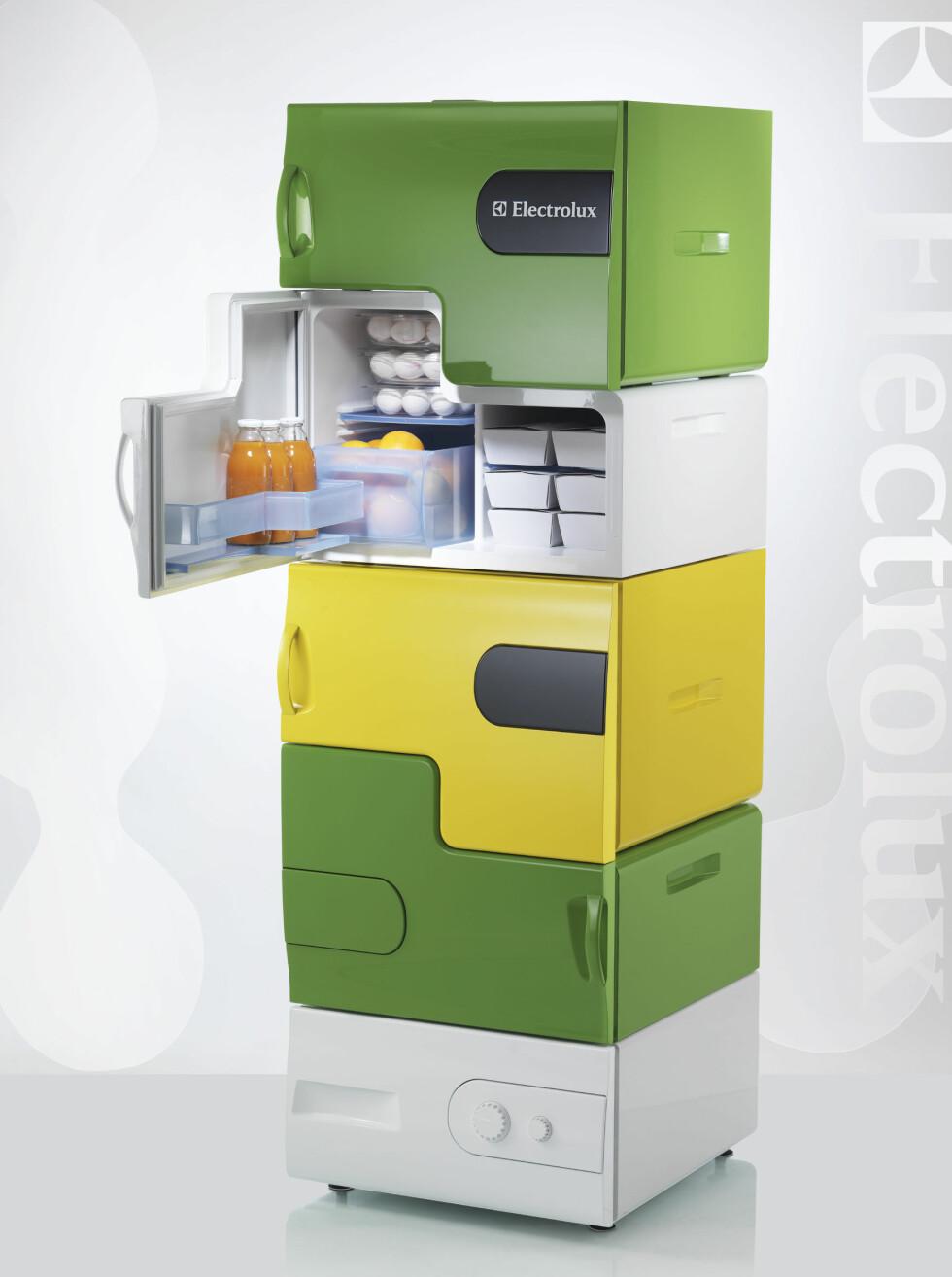 FLATSHARE: Og så var det vinnerbidraget da, Flatshare, kjøleskapet som skal skape husfred i bokollektivene. De små kjøleboksene settes på hverandre som legoklosser. Den nederste boksen binder alle boksene sammen, og fungerer også som et fryseskap. Nå gjenstår det bare å se om Electrolux, som sitter med patentet, ønsker å sette denne i produksjon. Designet av Stefan Buchberger (Østerrike) Foto: Electrolux