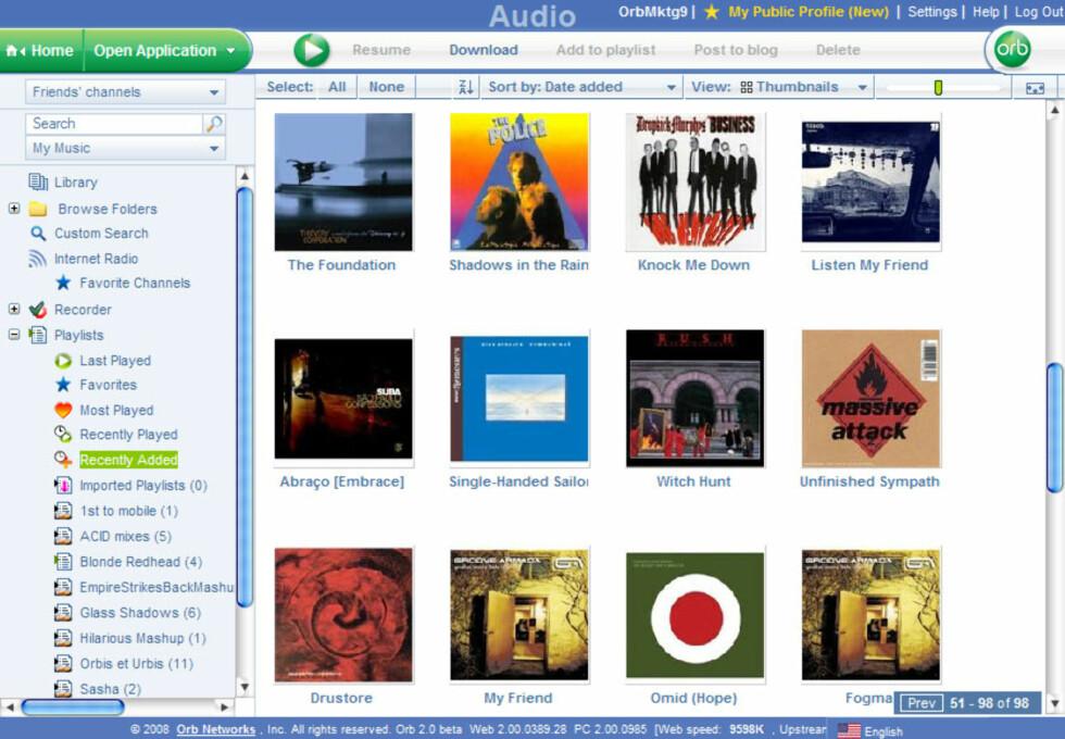 Slik ser webklienten ut når du spiller musikk.