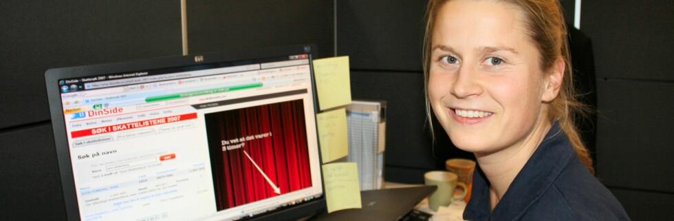 Pernille Berg innrømmer glatt at hun søker i skattelistene. Foto: Stine Okkelmo