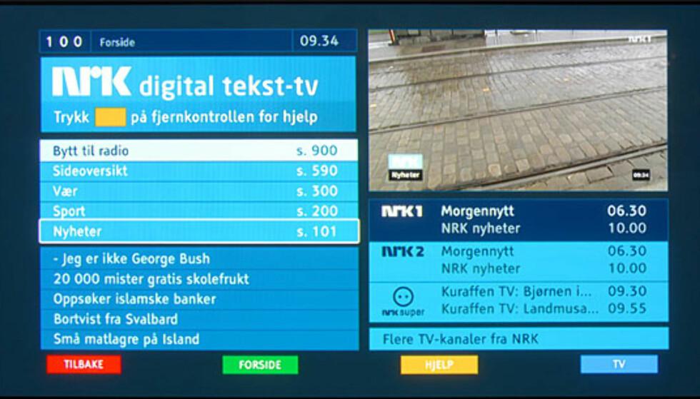 Hovedmenyen for digital tekst-tv