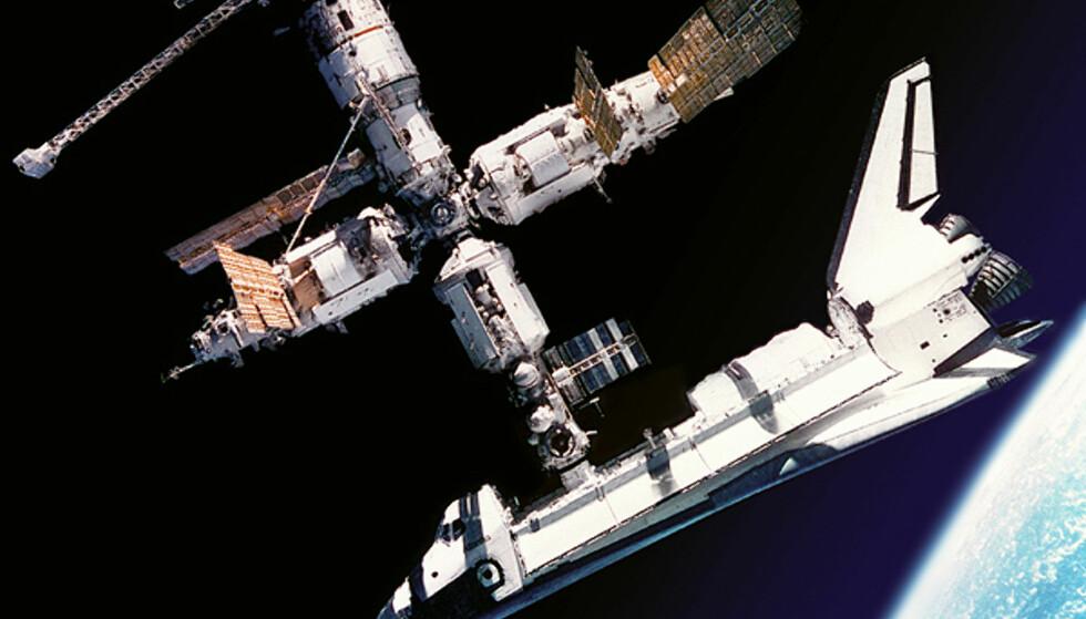 Omtrent slik ser det ut når du kommer frem til hotellet ditt hvis du reiser med Space Adventures. Bildet er av Atlantis ved romstasjonen MIR.  Foto: wikipedia.com