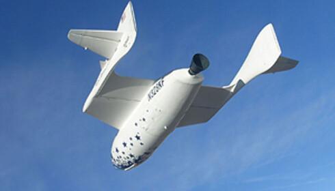 I et fartøy som dette kan du bli fløyet ut i rommet for rundt 200 000 dollar. Bildet er av Virgin Galagtics Spaceship One.  Foto: wikipedia.com