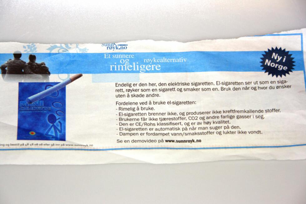 Denne annonsen, som nylig sto i en av landets riksaviser, er ulovlig. Importøren har inntil videre måttet stoppe all salg av nikotinampuller til E-sigaretten.