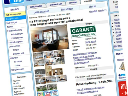 Øverst på Finn.no akkurat nå fant vi denne leiligheten i Trondheim sentrum til en ny og lavere pris. Foto: Finn.no