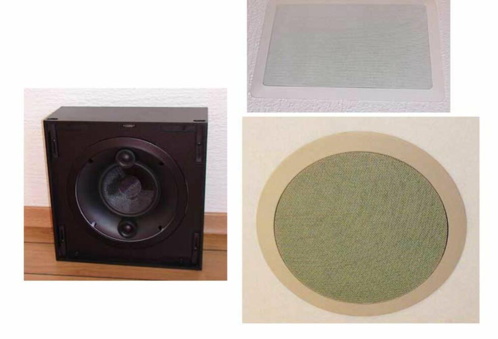 Til venstre ser du en av høyttalerne som kan bygges inn i veggen. Til høyre ser du hvor diskret resultatet blir. Øverst har du en vegghøyttaler, og nederst en takhøyttaler.