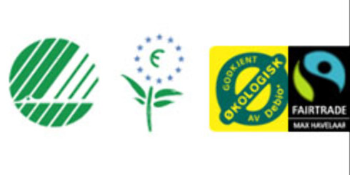Vet du forskjell på disse merkene? Fra venstre: Svanen/Blomsten,Ø-merket og Fairtrade.  Foto: Miljømerket