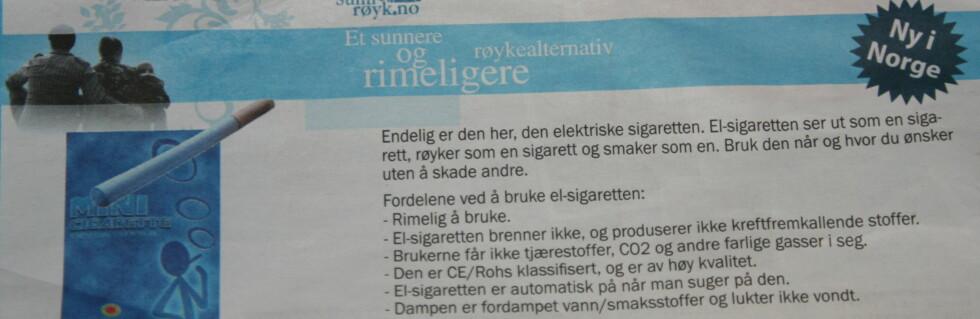Selger E-røyk ulovlig
