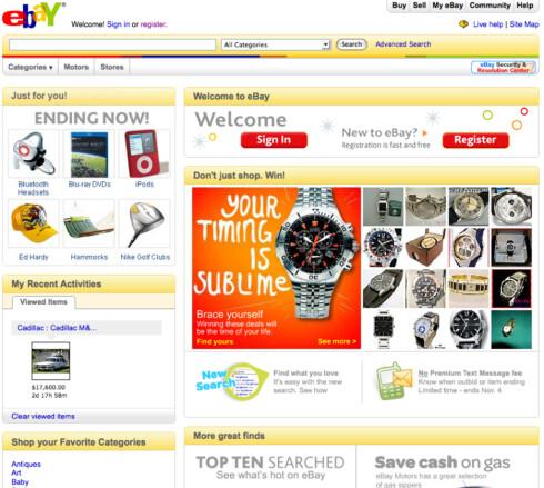 Forsiden på eBay.com
