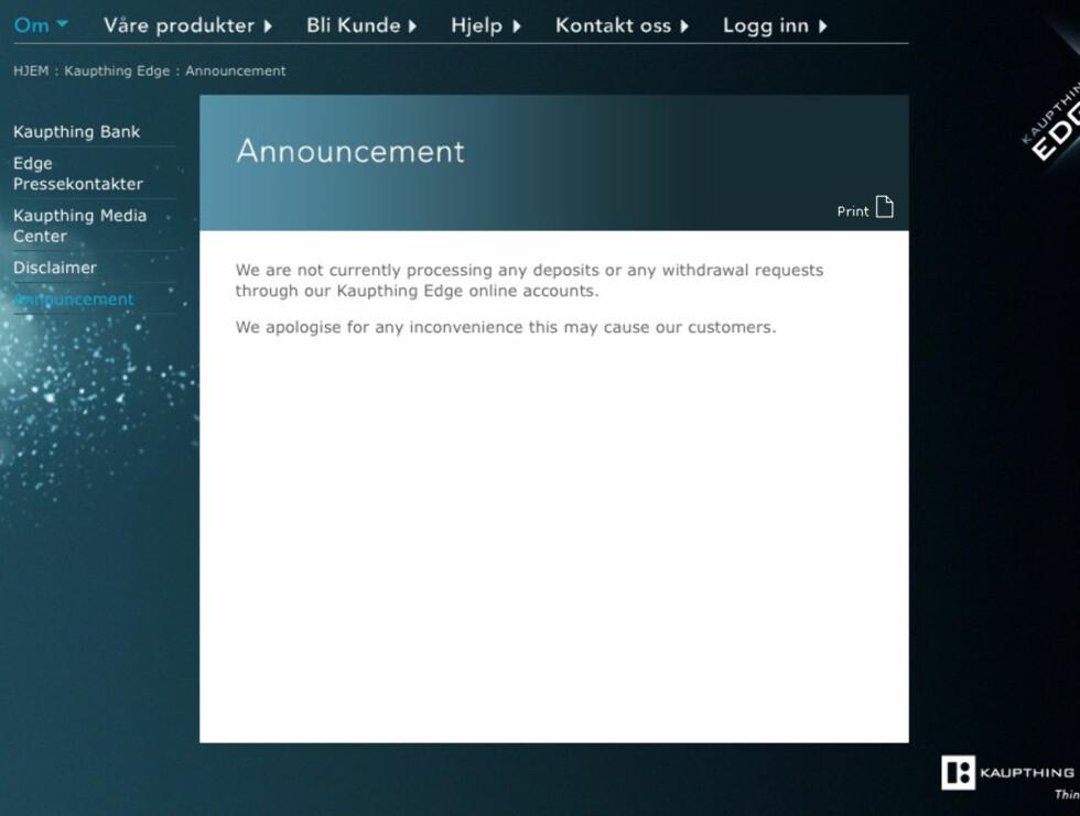 Slik skjer skjermbildet ut når kundene forsøker seg inn i nettbanken. Foto: Kaupthing Bank