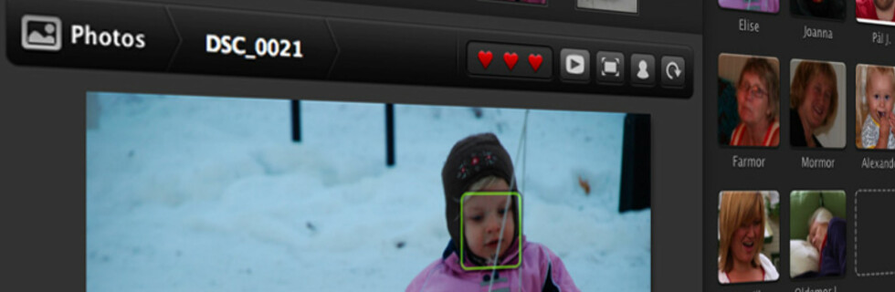 iLovePhotos sorterer bildene dine ved å finne ansikter.