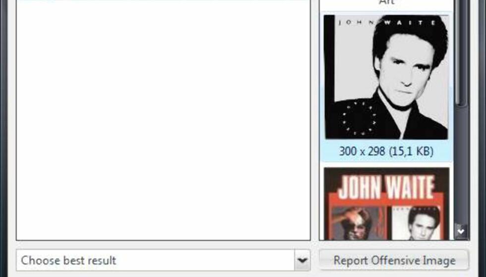 Høyreklikker du på en plate som mangler omslagsbilde, kan du hente dette fra nettet direkte.