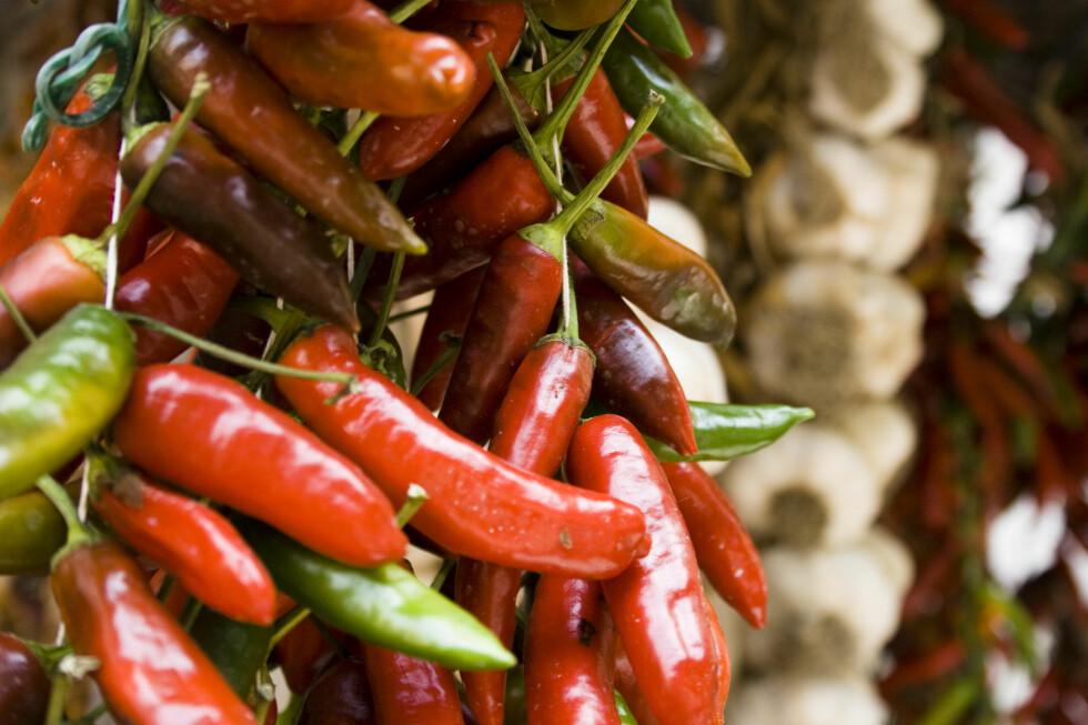 Chili skal hjelpe mot kreft og redusere kolesterolet. Men kan i store mengder, som så mye annet, være helseskadelig. Foto: Colourbox