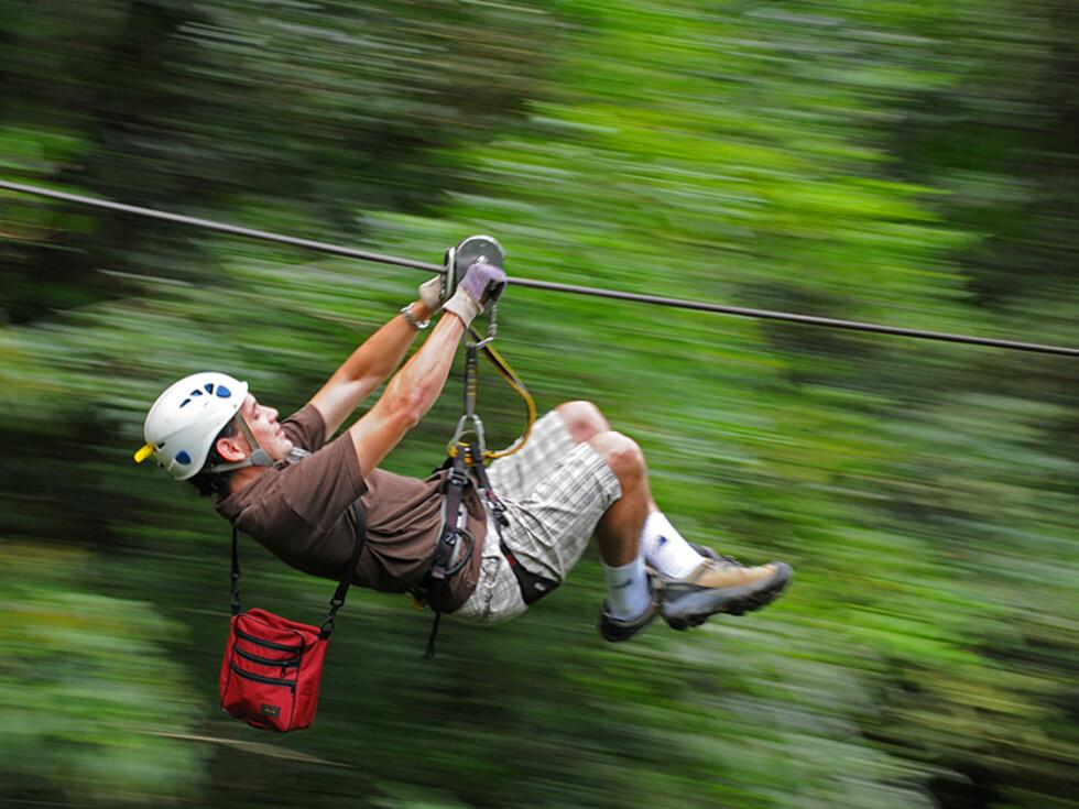 Canopying er et annet tilbud med fart i. Du svever over regnskogen i en vaier...ikke for den passive, men utrolig spennende.  Foto: Hans Kristian Krogh-Hanssen