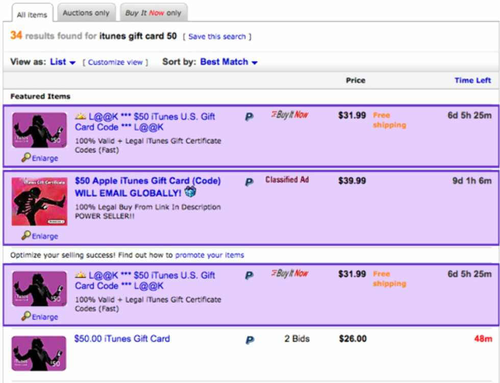 Billige gavekort på eBay.
