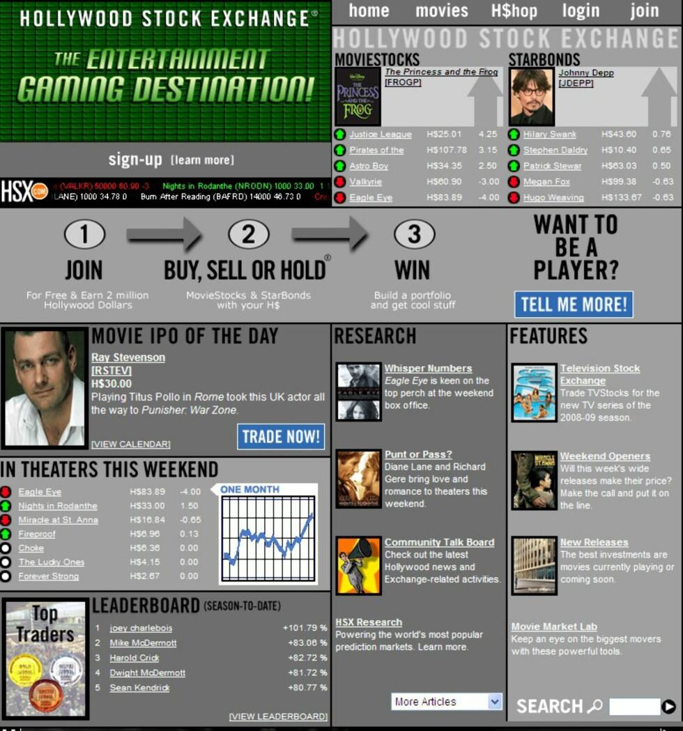 Slik ser Hollywood-børsen ut på nettet.  Foto: Faksimile: HSX.com