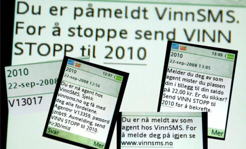 Når du først har blitt lurt, vil det ta lang tid om mange kostbare tekstmeldinger, for å melde deg av VinnSMS. Foto: DinSide