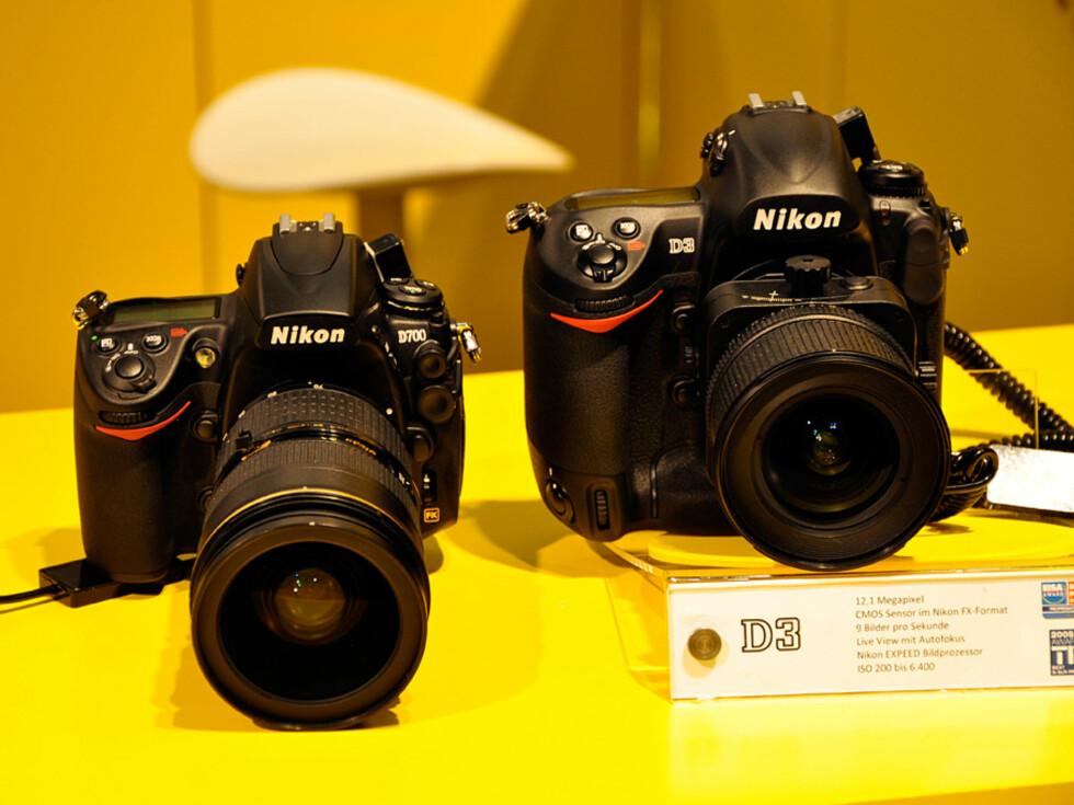 """Nikons to """"bad boys"""". Begge er fullformatkameraer og koster henholdsvis 18.000 og 30.000. Foto: Pål Joakim Olsen"""