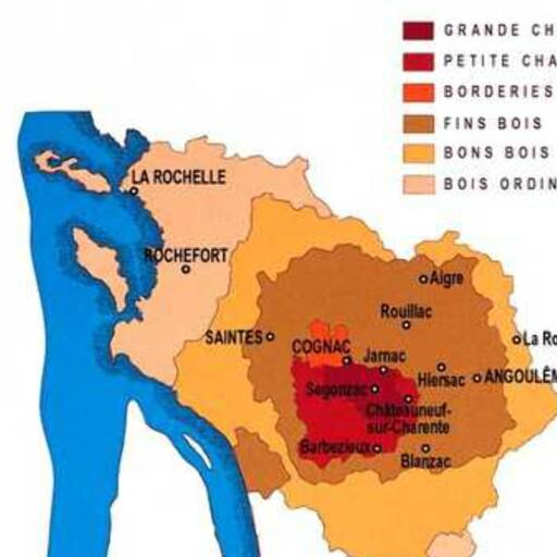 Regionens seks områder. Grande Champagne er det mest ettertraktede området. Foto: Visit Charente