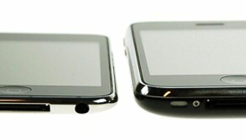 8,5 mm tynn: Apple iPod touch 2G til venstre, iPhone 3G til høyre.