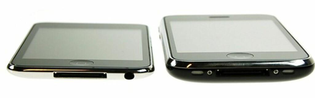 Den nye iPod Touch til venstre - iPhone til høyre.