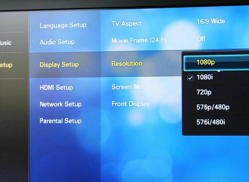 Enkle og svært oversiktlige menyer - her setter du den oppløsningen som best matcher flatTVen din.