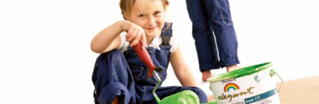 De nye miljøvennlige malingene som NAAF har godkjent skal være så milde at barn trygt kan male med dem.  Foto: Beckers
