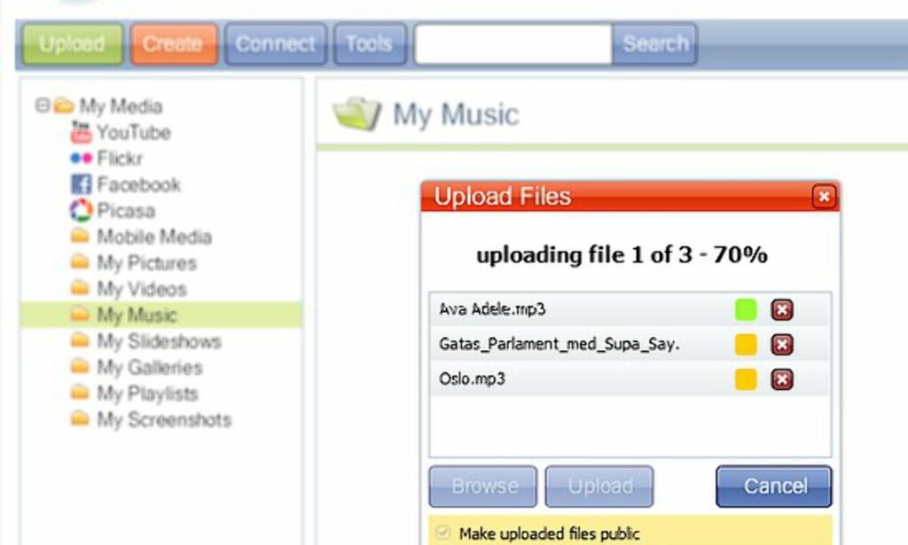 Man kan laste opp flere filer samtidig, og sortere som man vil i mapper.