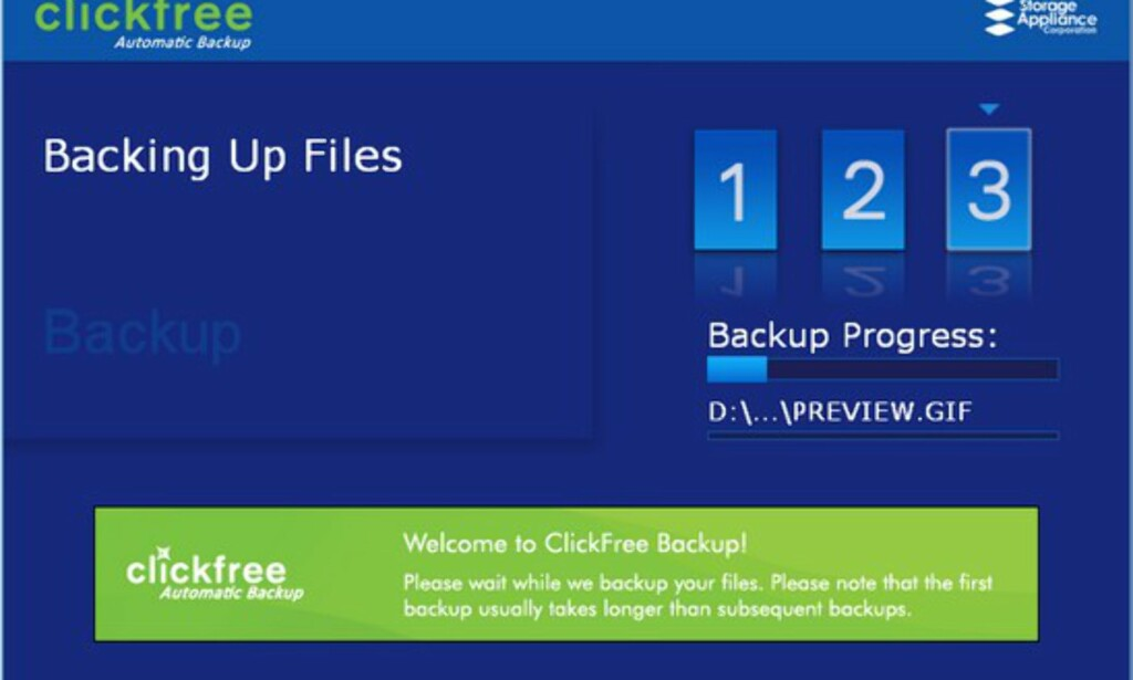 image: Clickfree - automatisk sikkerhetskopi av filene dine