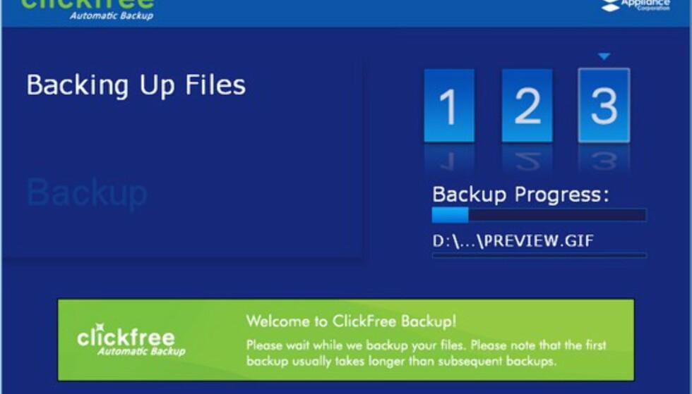 Clickfree - automatisk sikkerhetskopi av filene dine