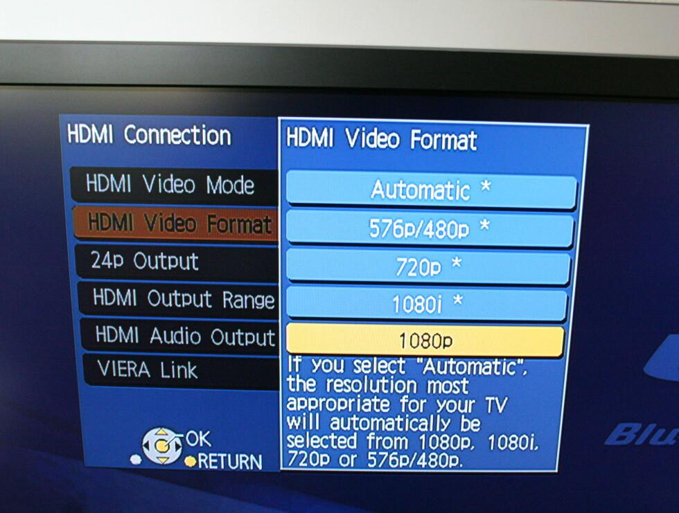 Velg den oppløsningen som passer flatTVen din best.
