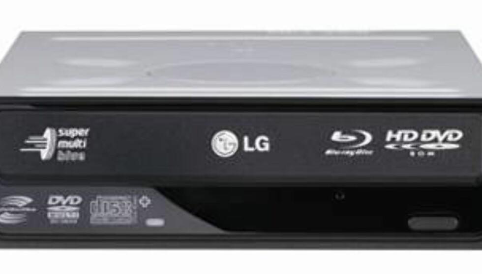 Denne brenneren fra LG støtter nær sagt alt av formater, og koster rundt 1 600 kroner i de billigste butikkene. Da følger det med programvare fra Cyberlinks for avspilling av Blu-ray, HD DVD og brenning av plater.