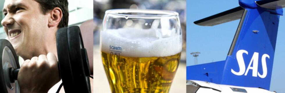 Trening, øl og flybilletter: Er du student, trenger du ikke alltid betale full pris! Foto: Colourbox