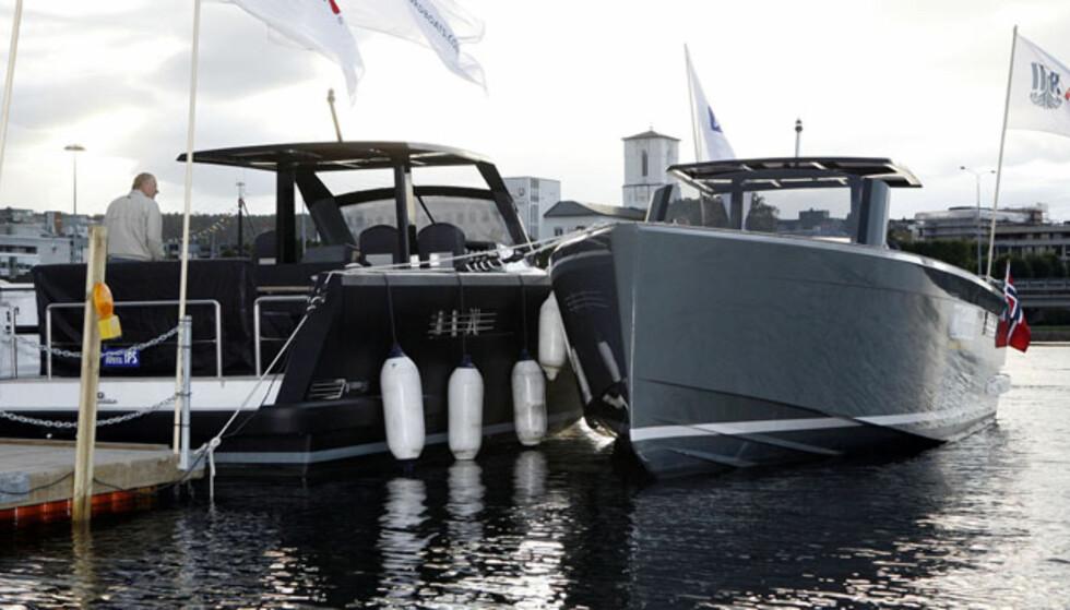Fjord 40. Ser nesten ut som et krigsskip. Designet av samme mann som har tegnet Wally. Foto: Per Ervland