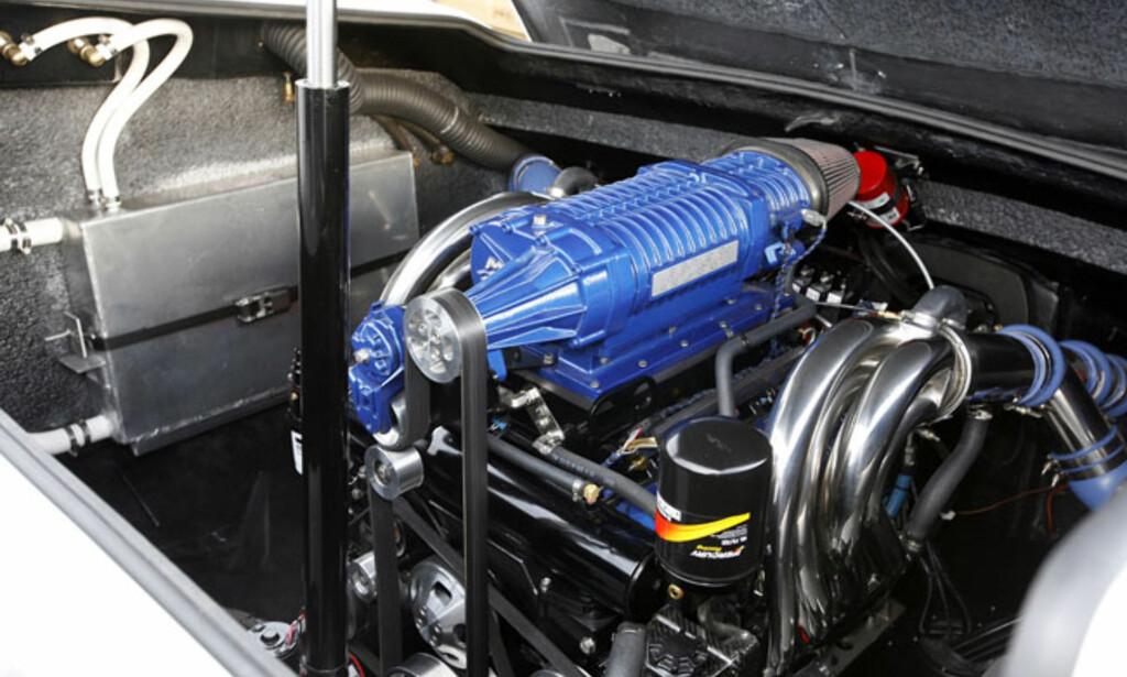 Den største motoren fra Mercruiser som er CE-godkjent. EU662 heter den. Den har 662 hestekrefter og bruker det store NXT1-drevet. Her innstallert i en Hydrolift C31. Foto: Per Ervland