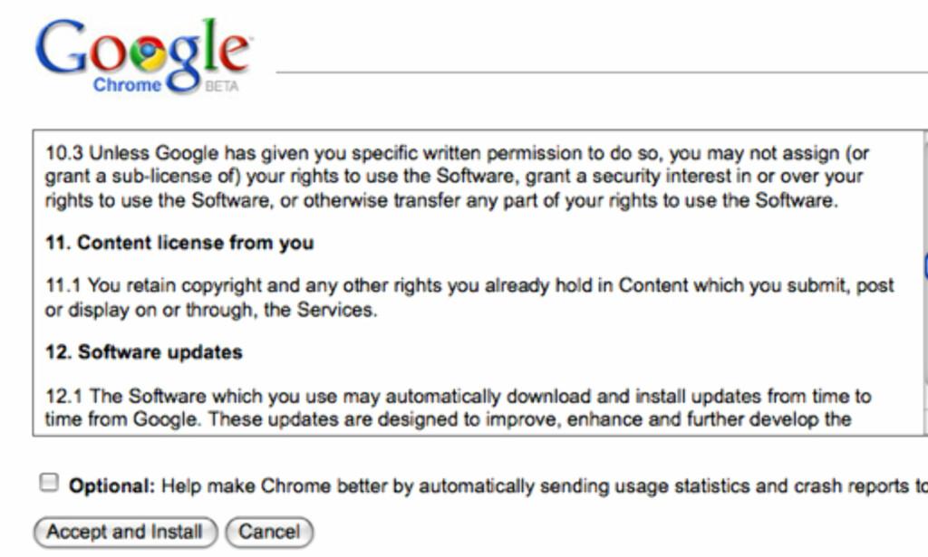 image: Google snudde på brukeravtalen