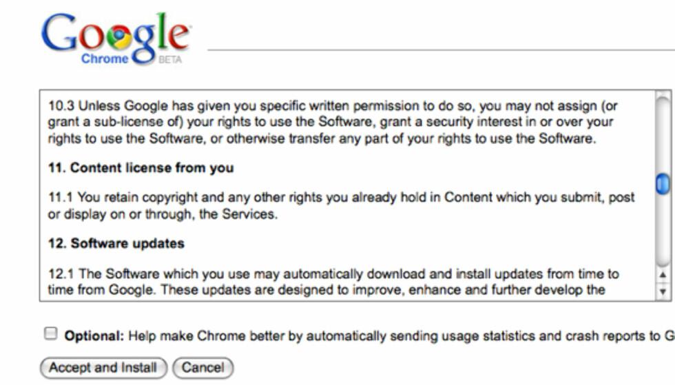 Google snudde på brukeravtalen
