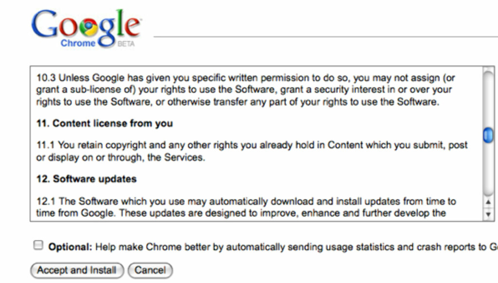 """""""Du har copyright på innhold du sender inn og viser ved å bruke tjenesten."""" Så enkelt kan det sies, Google."""