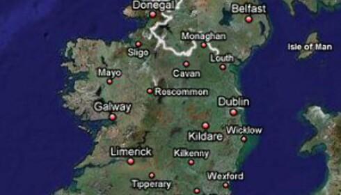 Den irske vestkysten er området mellom byene Galway og Mayo. Foto: Google Maps