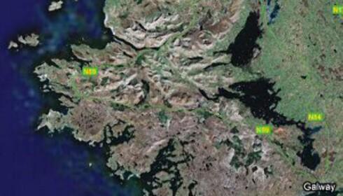 Her ser du nærmere området der Connemara ligger. Foto: Google Maps