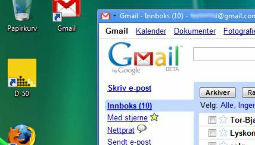 Her har vi laget en snarvei på skrivebordet til Gmail. Dobbelklikker vi dukker Gmail opp som en applikasjon. Slik er Google på vei til å viske bort skillet mellom lokale- og nettbaserte programmer.