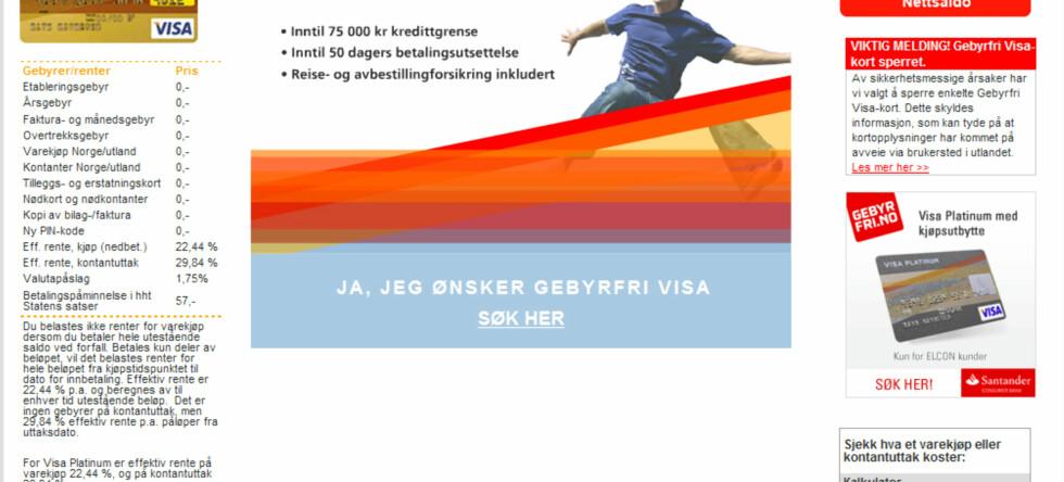 Sperrer Visakort etter mulig kortsvindel