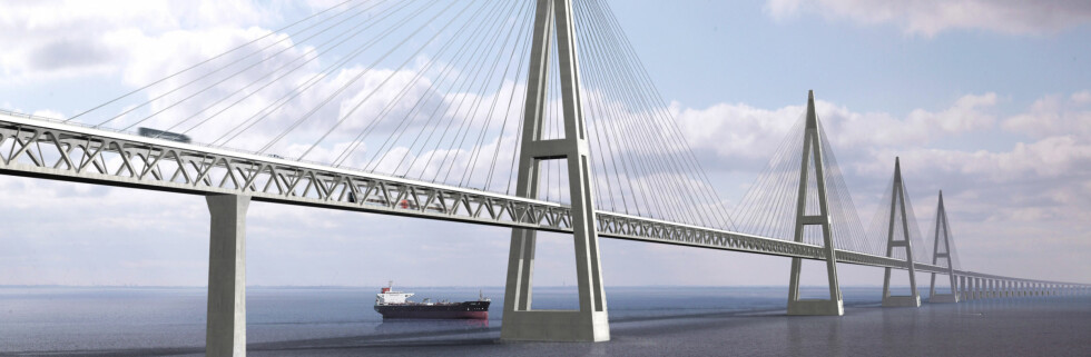 Slik er Femern Bælt planlagt, som en skråstagsbro. Foto: Søren Madsen/Femern Bælt A/S