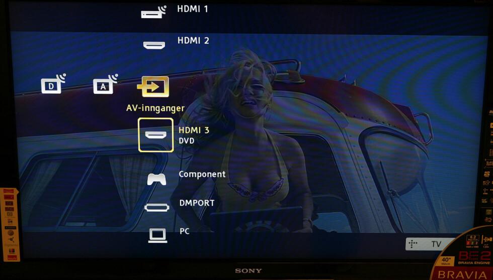Menyene er i PS3-stil, her ser du hvordan inngangskildene dukker opp.