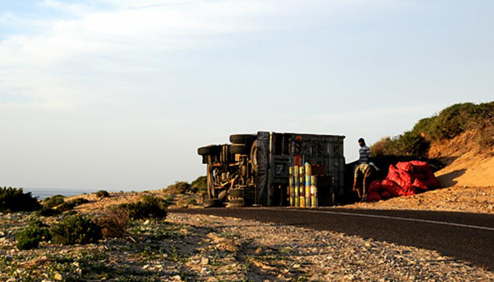 Et vanlig syn på veien fra Agadir til Marrakech i Marokko.  Foto: Hans Kristian Krogh-Hanssen