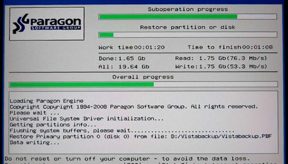 Her gjenoppretter vi systempartisjonen med Windows og alle programmene våre. Prosessen var fullført på knappe 12 minutter.