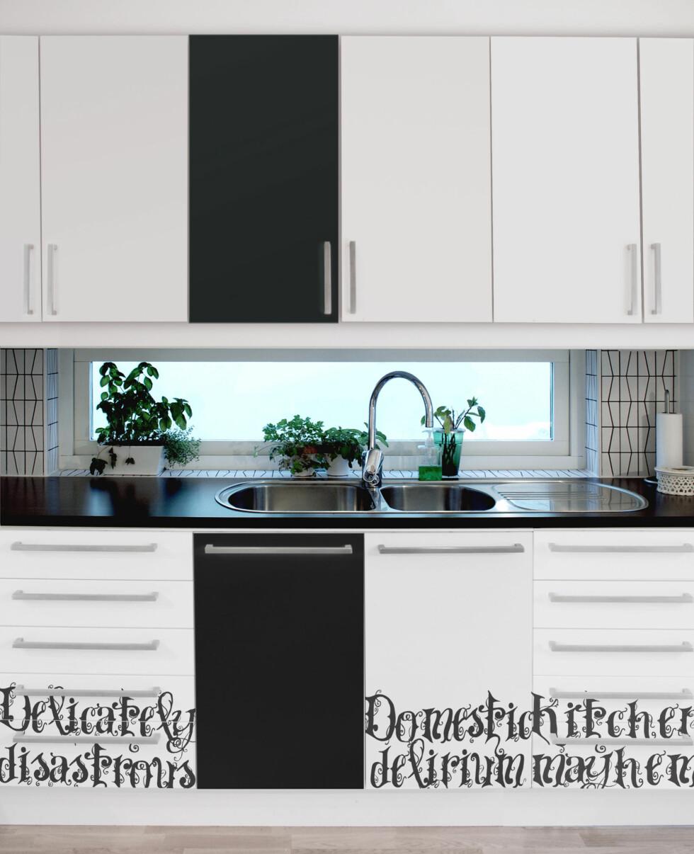 Domestic delirium? Kithchen Mayhem? Ikke veldig subtile beskjeder på disse foliene. Her i Kitchen Metaphors og ensfarget svart. Foto: Dodeci.it