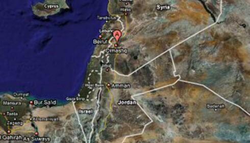 Den røde markeringen viser hvor Damaskus ligger. Foto: Google Maps