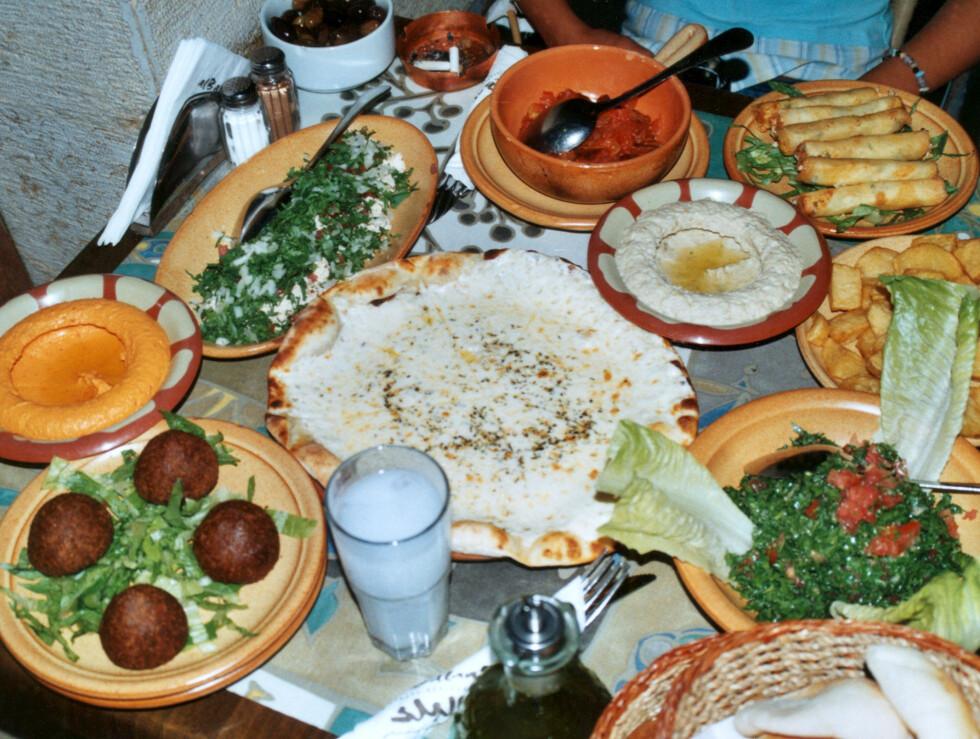 Arabisk meze er en smaksopplevelse for ganen. Det er så billig i Damaskus, at du bør bestille alt du har lyst på.  Foto: Bengt Sigvardsson